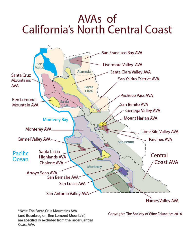North Central Coast CA SWE Map 2017 Wine Wit and Wisdom