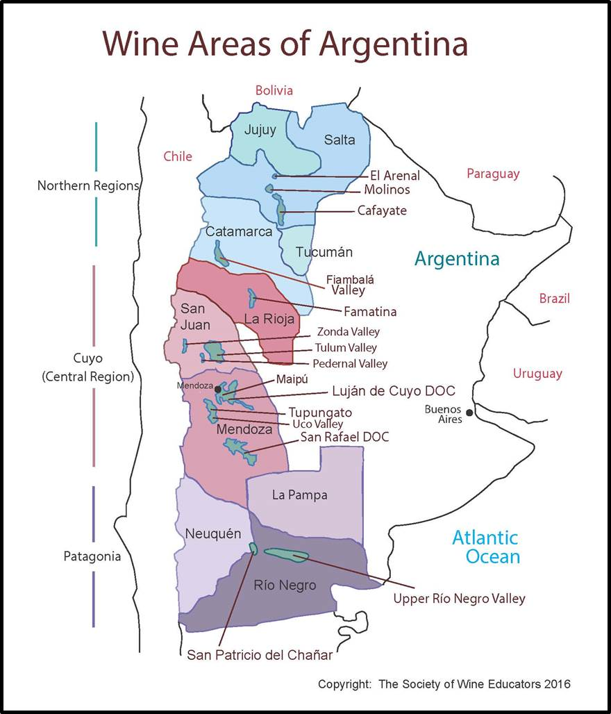 Argentina SWE Map Wine Wit And Wisdom - Argentina highlights map