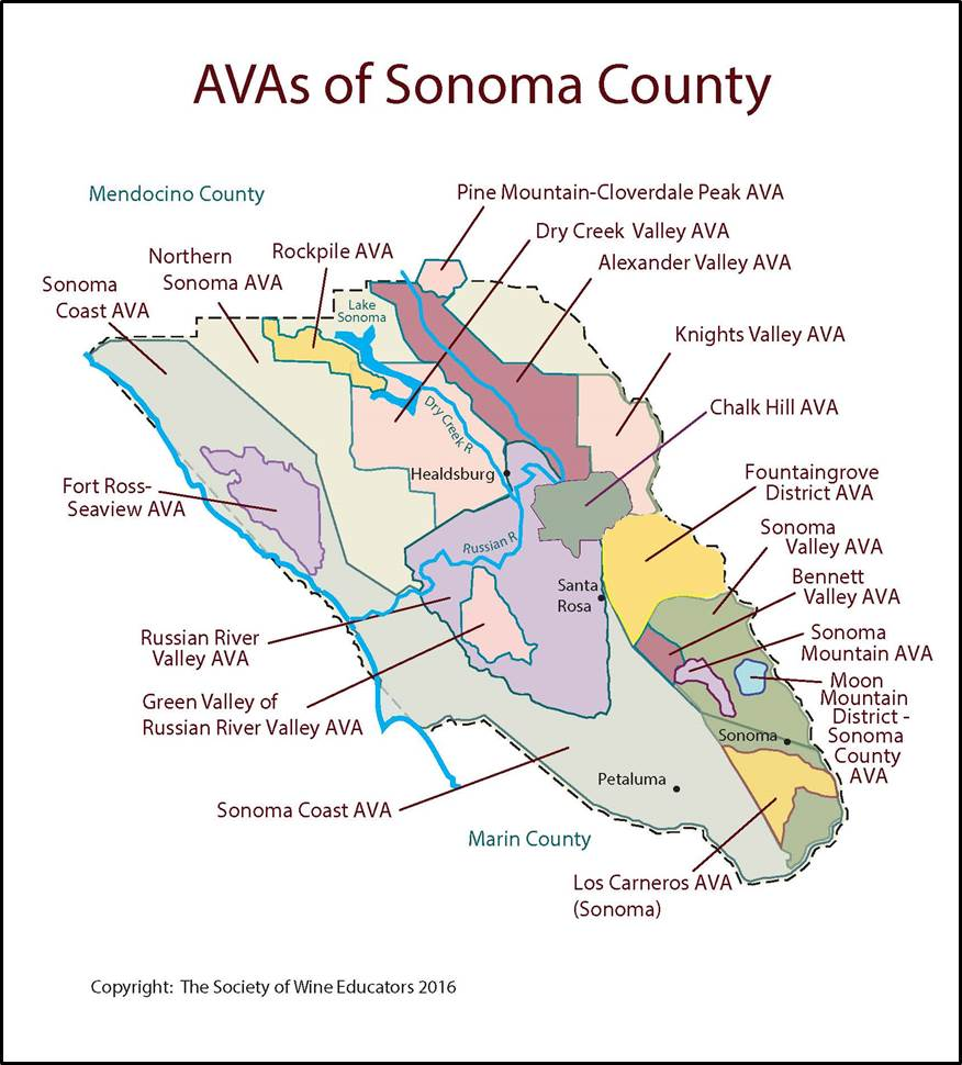 Sonoma  California  SWE Map 2017  Wine Wit And Wisdom