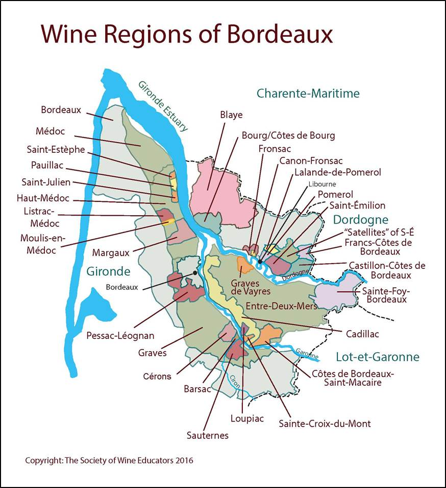 Bordeaux France SWE Map 2017 Wine Wit and Wisdom
