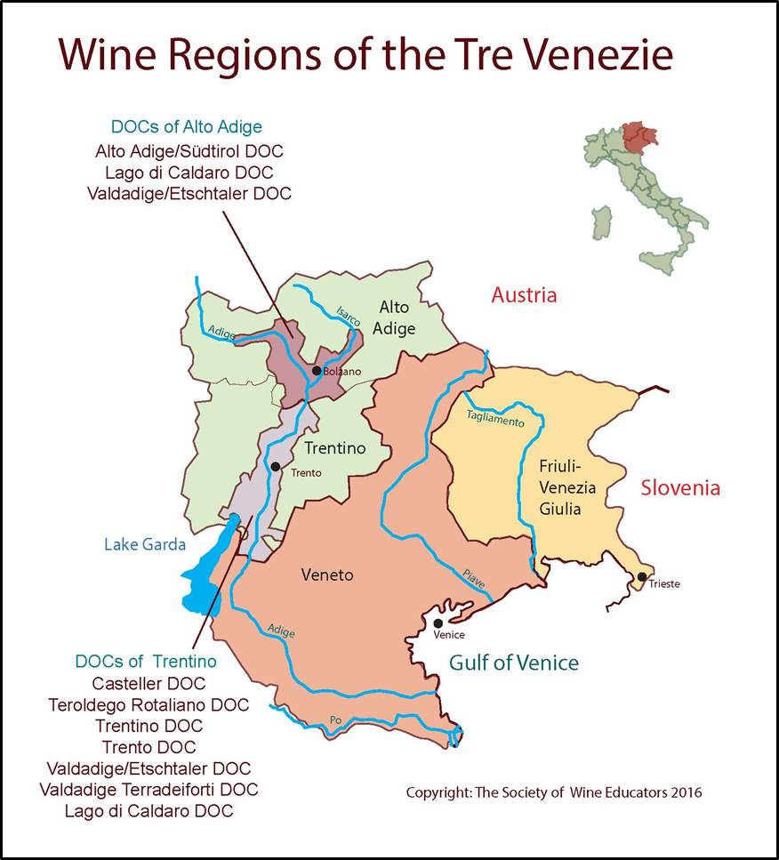 Friuli Italy Map.Tre Venezie Italy Swe Map 2017 Wine Wit And Wisdom