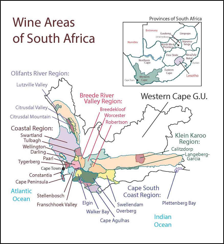 South Africa SWE Map 2017 Wine Wit and Wisdom