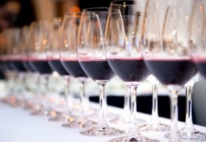 red wine tasting line up of glasses