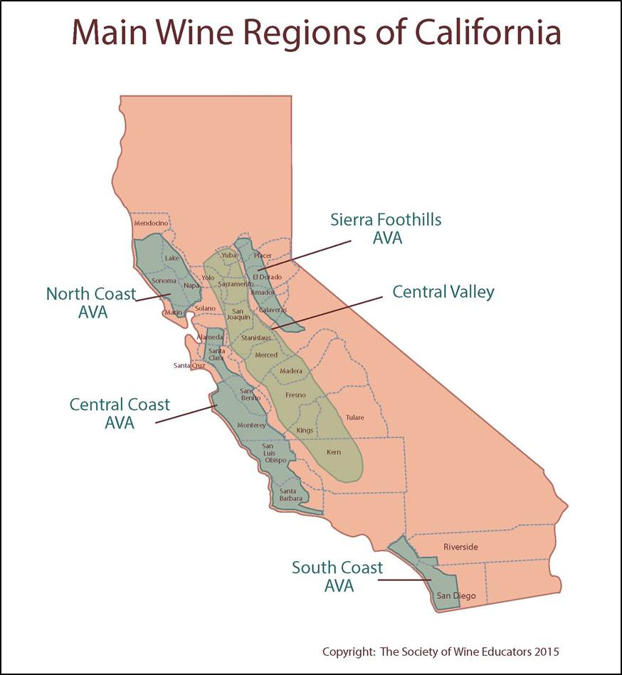 California wine map regions for California wine