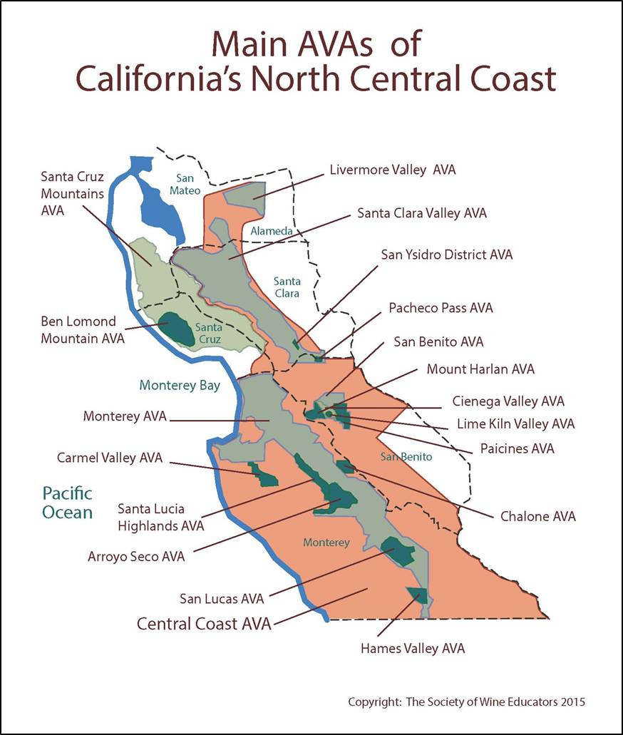 SWE Wine Map USCaliforniaCentral CoastNorth Wine Wit - Us wine regions map