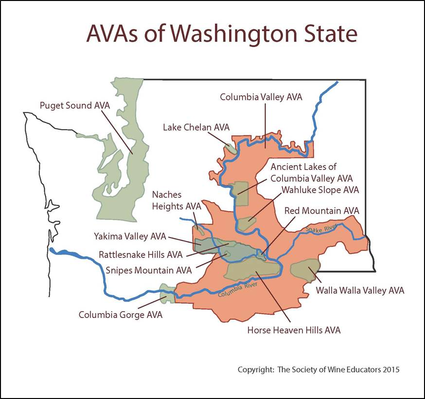 SWE Wine Map USWashington State Wine Wit And Wisdom - Us wine regions map
