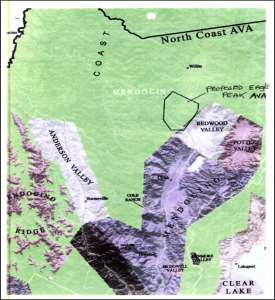 Map of the proposed (now approved) Eagle Peak Mendocino County AVA, from the TTB's original docket (see link below)
