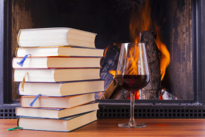 Books and wine fire place