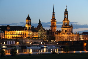 The city of Dresden, on the Elbe River