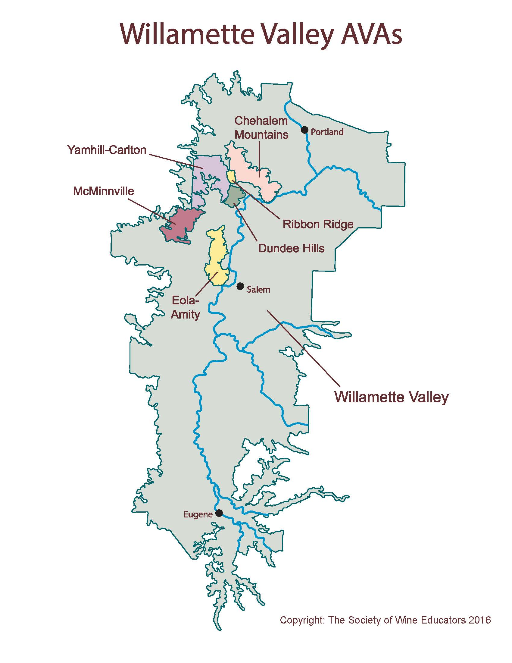 New Map Of The Willamette Valley Wine Wit And Wisdom - Map of all us avas