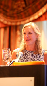 Christina Mariani-May accepts SWE's Grand Award on behalf of Banfi Vintners