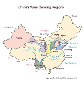 Map of China - Wine Growing