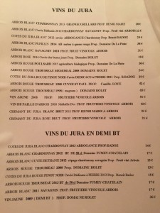 restaurant list of Jura wines