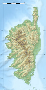 Topographic map of Corsica by Eric Gaba via Wikimedia Commons