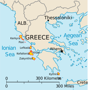 Map of the Ionian Islands (via Wikimedia Commons; Public Domain