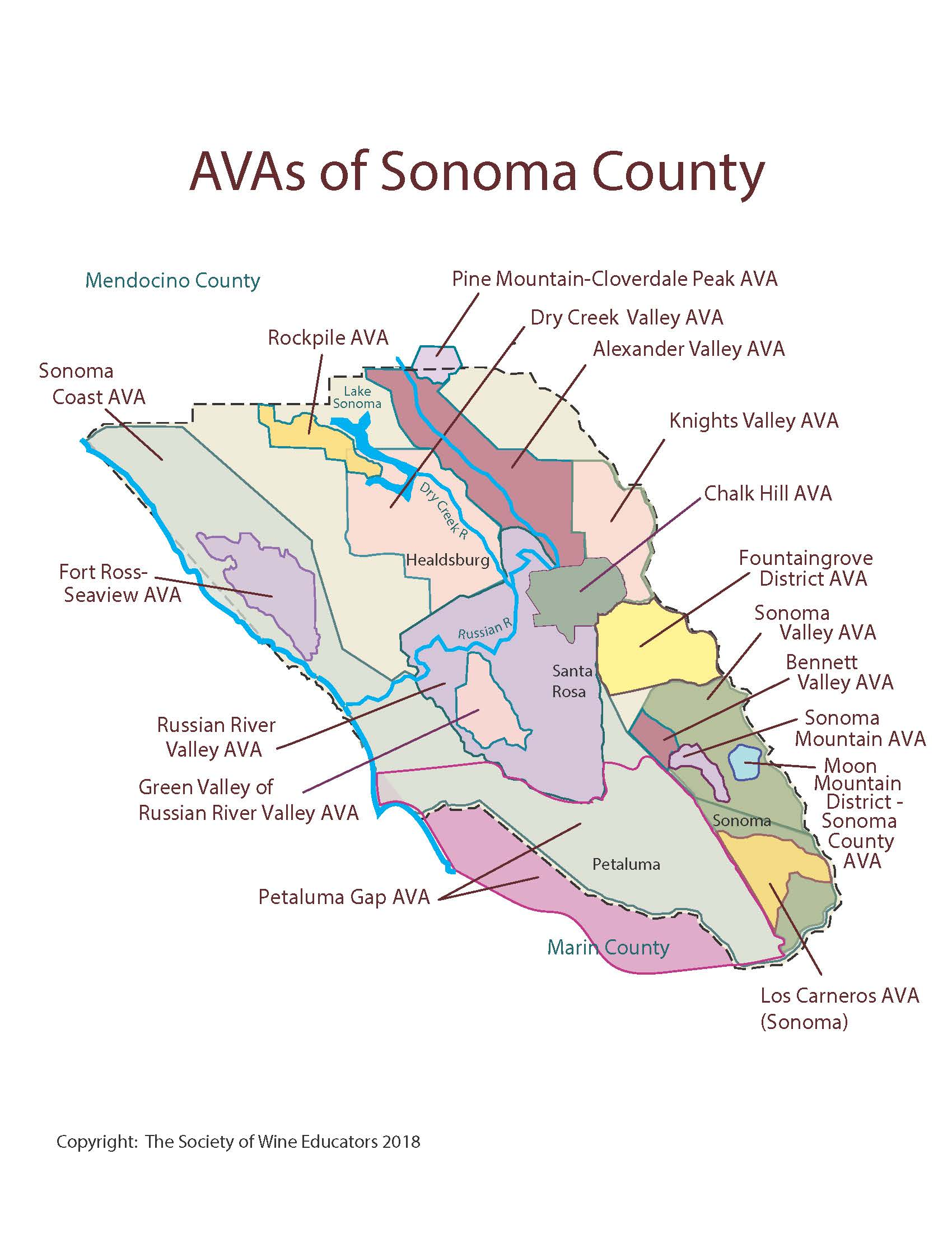 Sonoma Valley California Map.California Sonoma County Swe Map 2018 Wine Wit And Wisdom