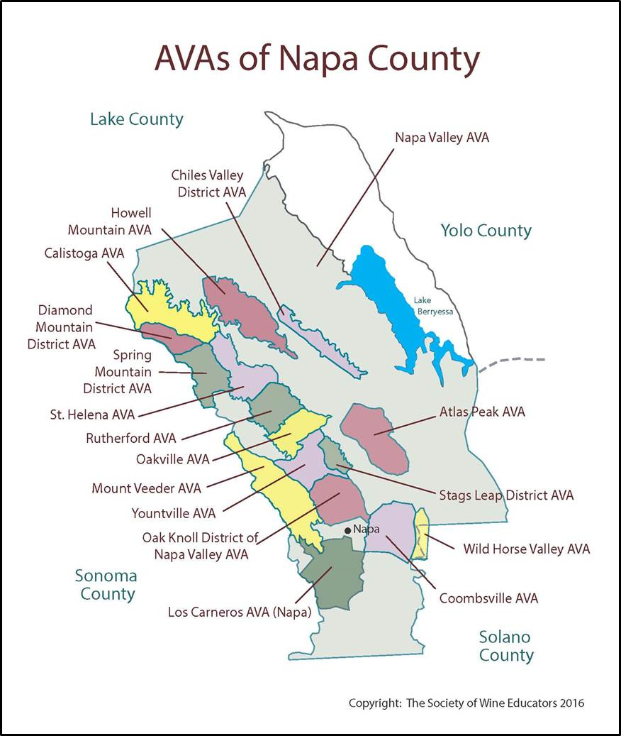 CaliforniaNapa SWE Map 2018 Wine Wit and Wisdom