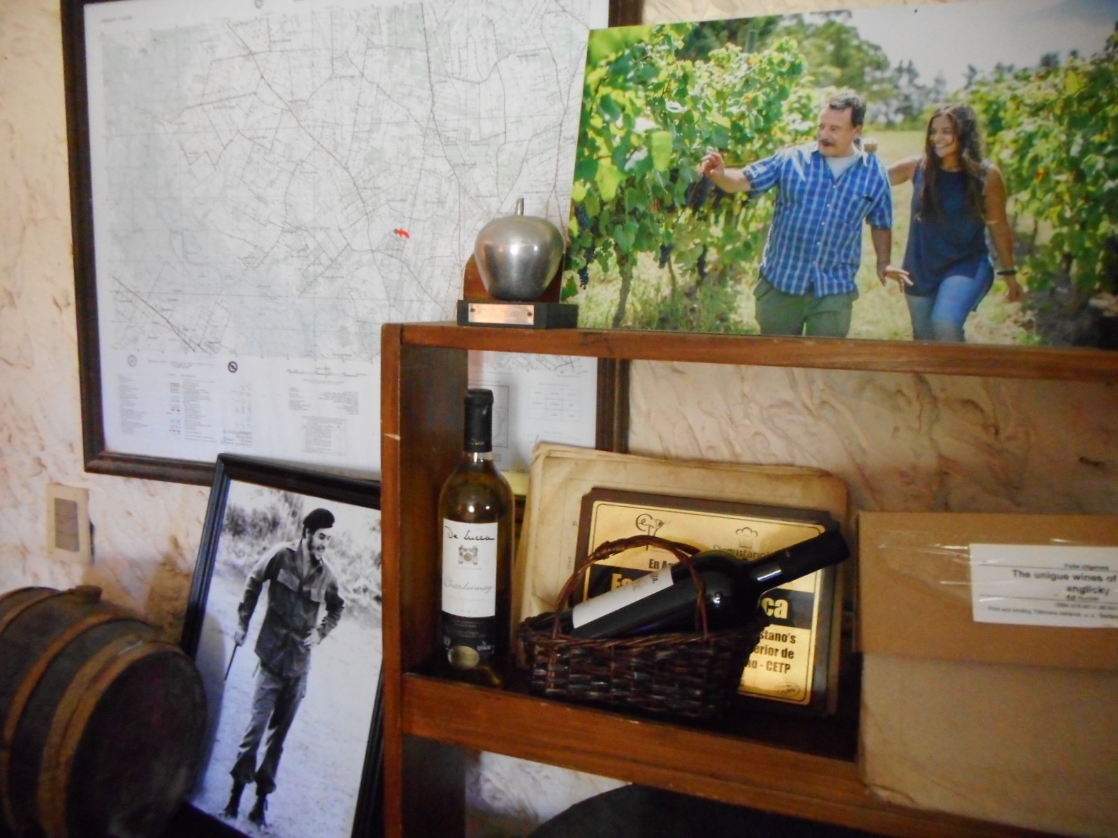 Reinaldo And Agostina De Lucca S Photograph On Shelf In Tasting Room Next To A Vineyard