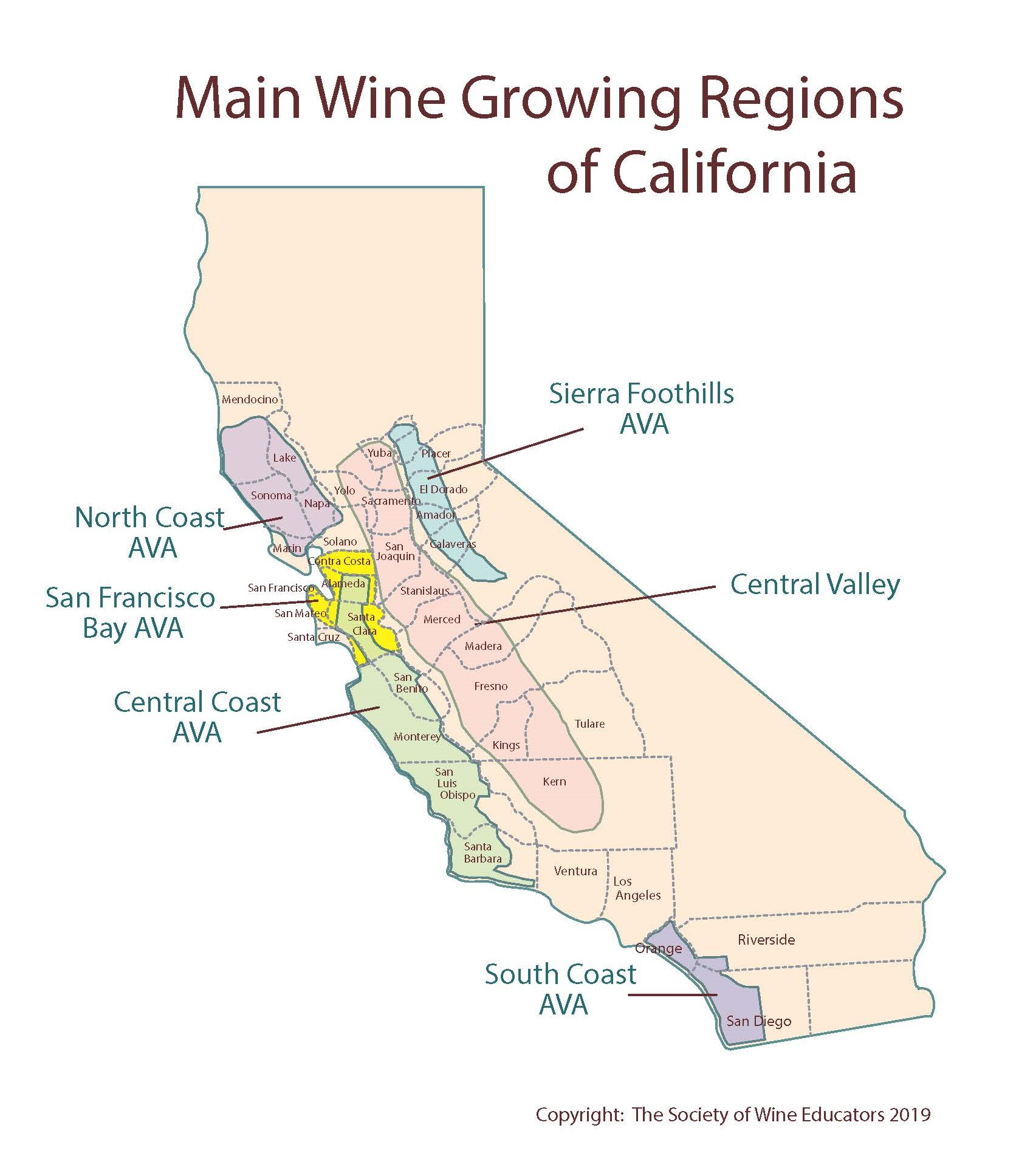 US: California—SWE Map 2019 – Wine, Wit, and Wisdom on