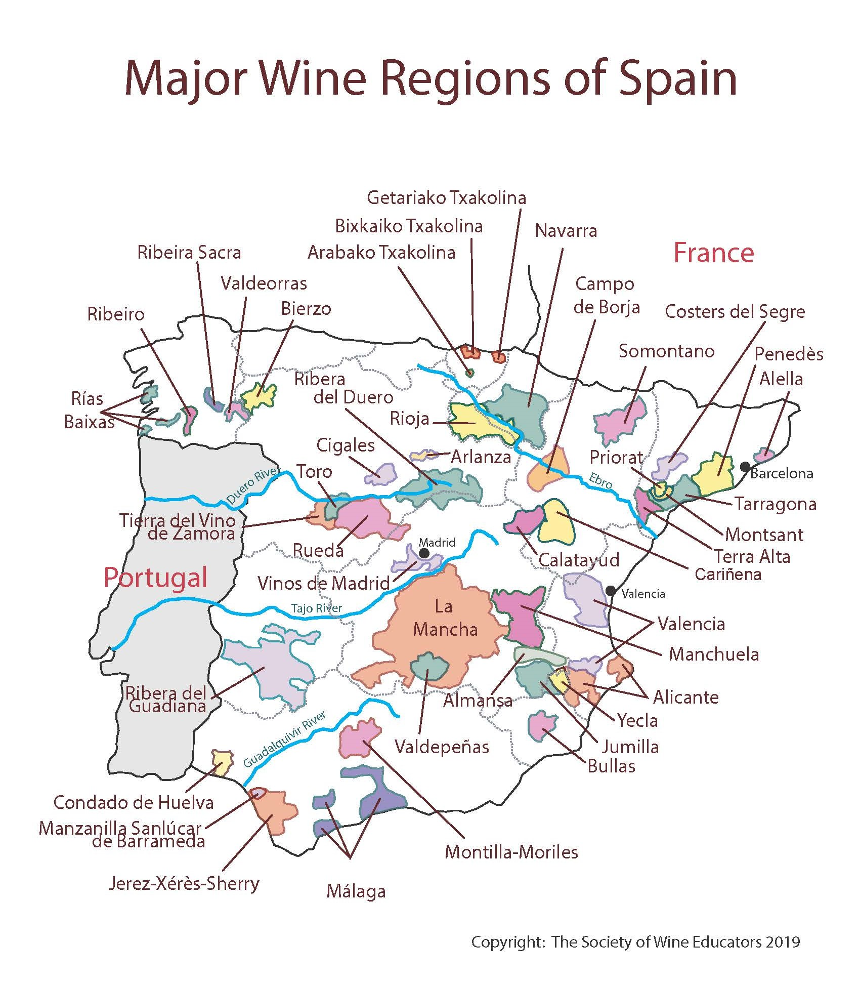 Map Of Yecla Spain.Spain Swe Map 2019 Wine Wit And Wisdom